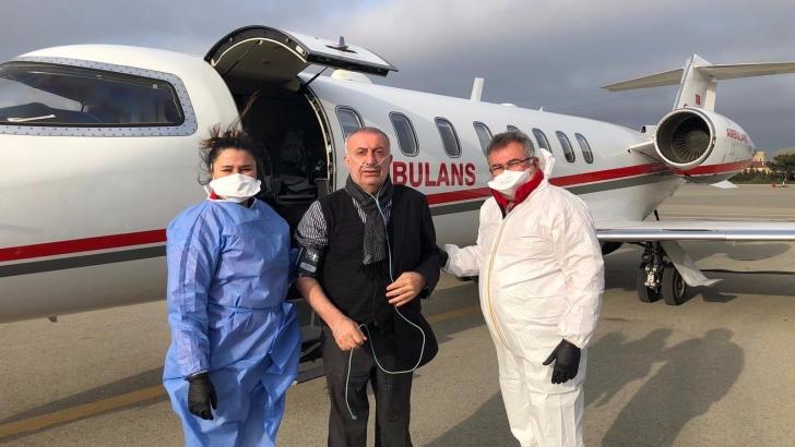 İş insanı Surur Aydın, ambulans uçakla Türkiye'ye getirildi