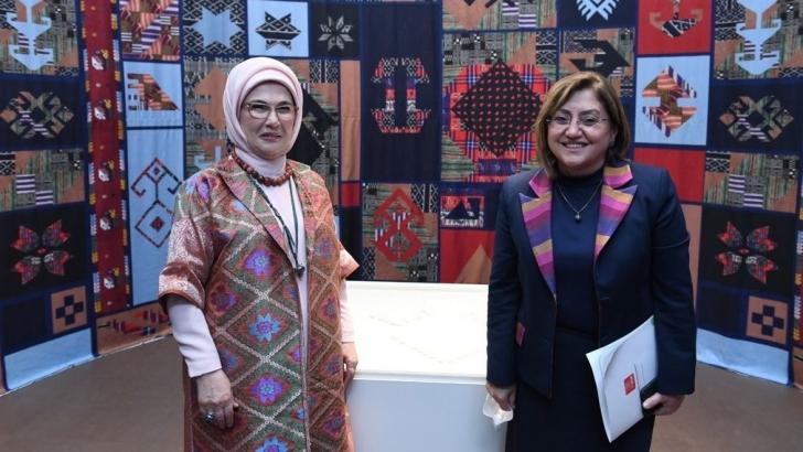 Şahin, Beştepe'de düzenlenen dokuma atlası sergisine katıldı